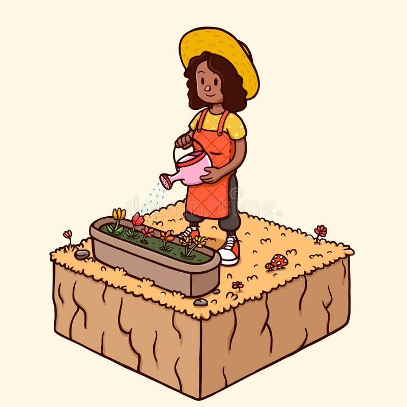 浇灌庭院花-秋天季节的黑人妇女 皇族释放例证