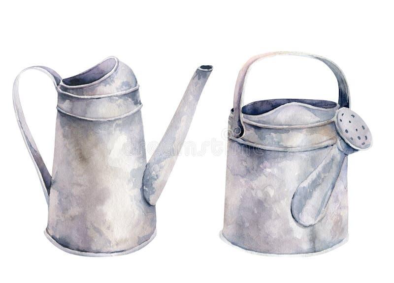 浇灌的水彩葡萄酒园艺工具生锈的罐子喷壶开花 手拉的被隔绝的例证  皇族释放例证