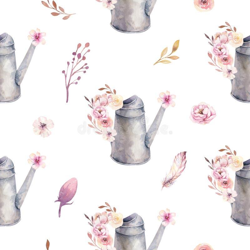 浇灌的水彩葡萄酒无缝的样式园艺工具生锈的罐子喷壶开花 象查找的画笔活性炭被画的现有量例证以图例解释者做柔和的淡色彩对传统 向量例证