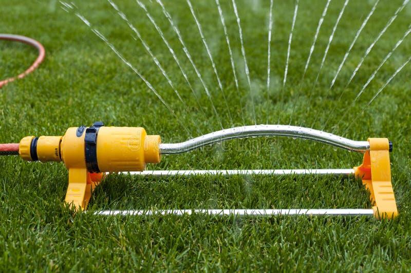 浇灌的草设备。 库存照片
