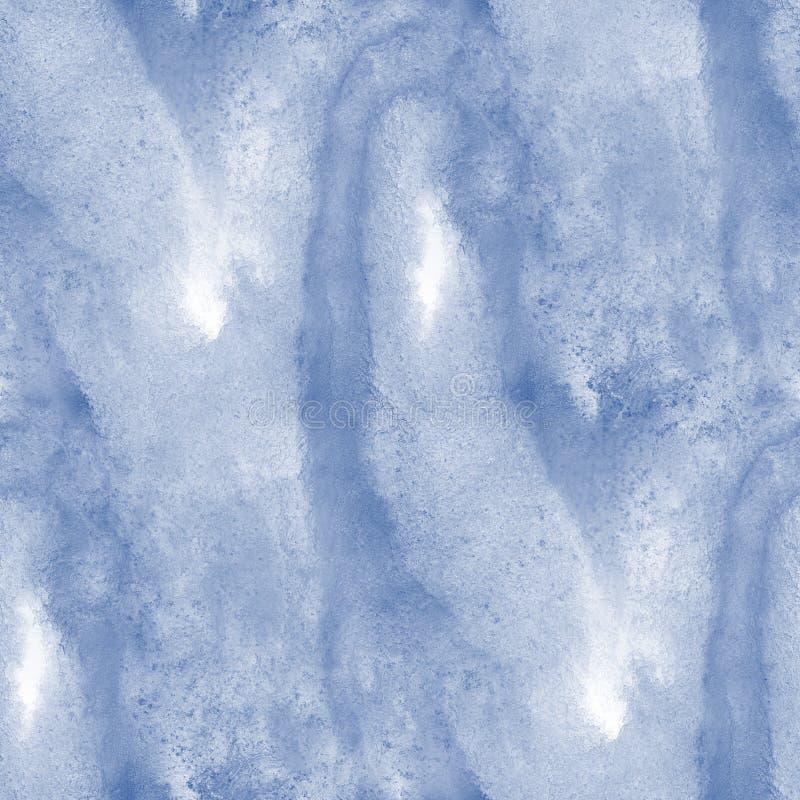浇灌蓝色海无缝的纹理手画波浪抽象水彩油漆海洋背景艺术 向量例证