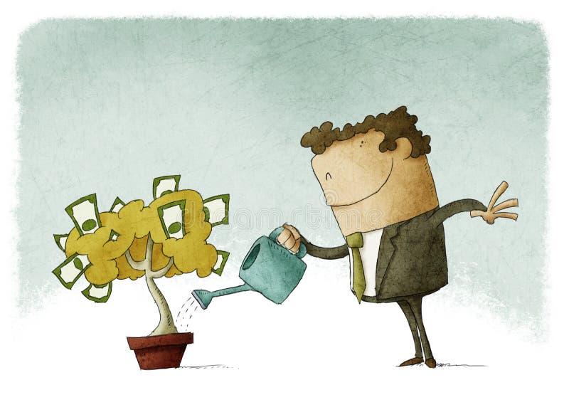 浇灌金钱树的人 向量例证