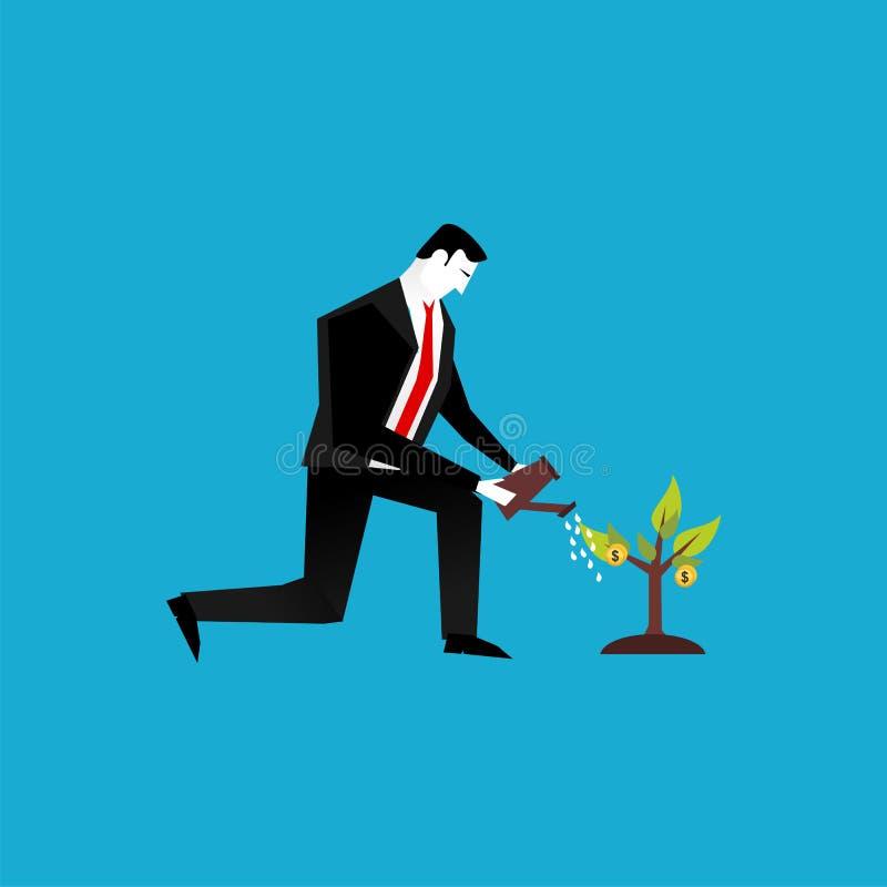 浇灌金钱的植物商人 商业投资或企业视觉概念 皇族释放例证