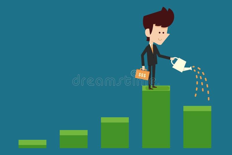 浇灌财政图表的商人 库存例证