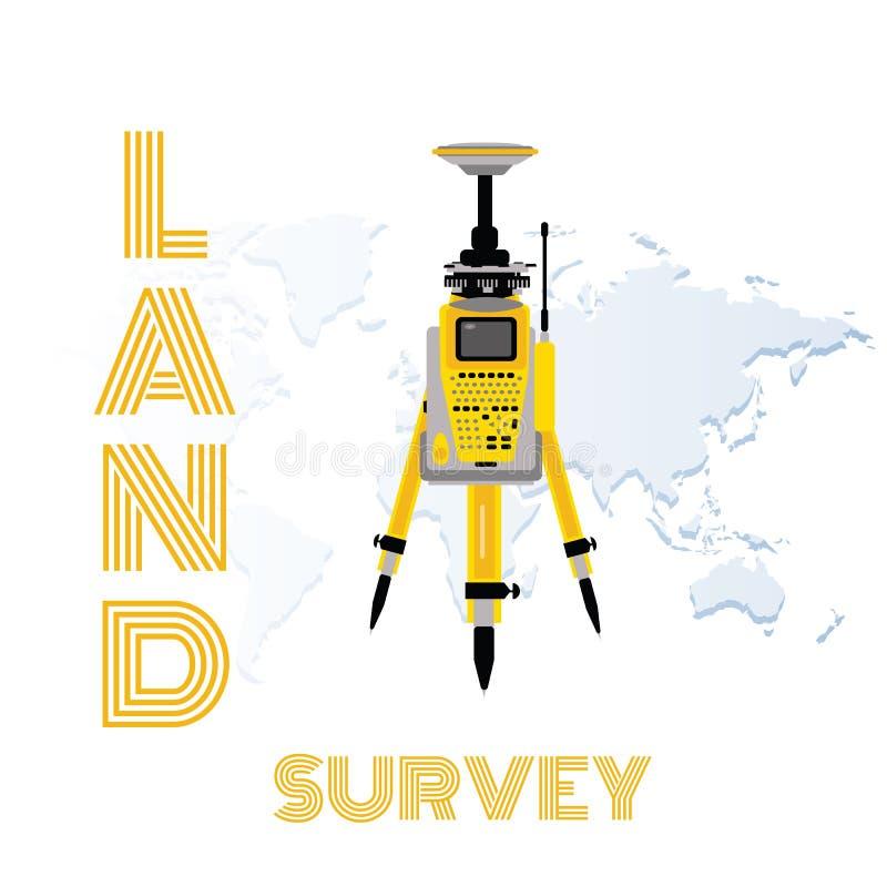 测地学测量器材,设计土地调查的技术 库存例证