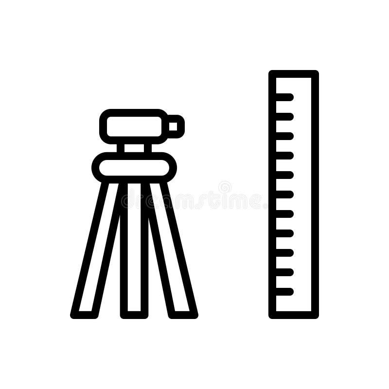 测地学,测量员和修建的黑线象 库存例证