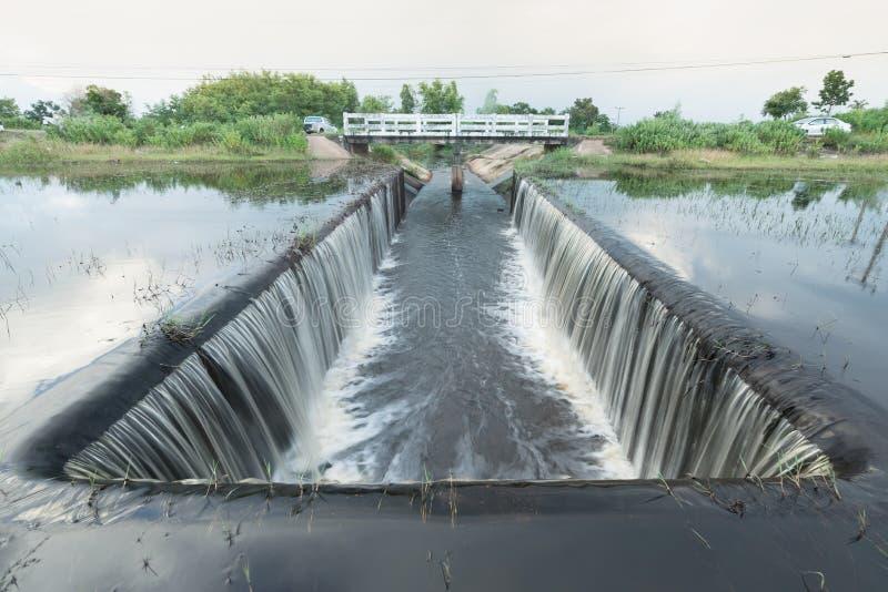 测流堰的细节通过淹没了测流堰-河与天空云彩 免版税库存图片