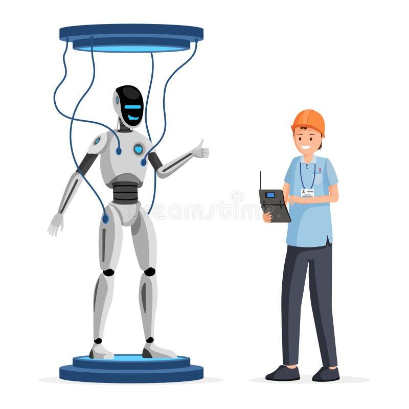 测试平的传染媒介例证的机器人软件 拿着电子设备卡通人物的盔甲的快乐的工程师 向量例证