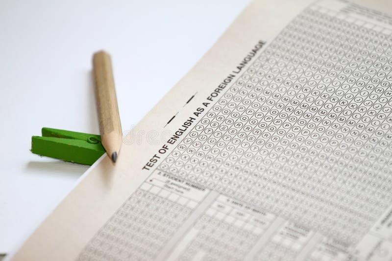 测试检查的答案纸 托福实践问题 英国了解 图库摄影