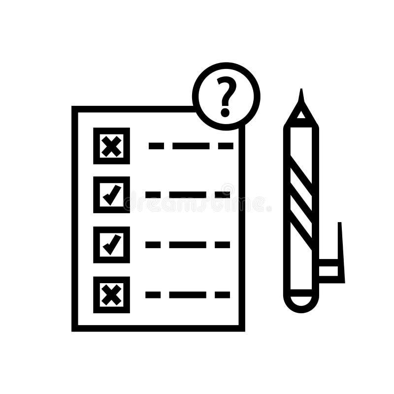 测试测验在白色背景、测试测验标志、线性标志和冲程设计元素隔绝的象传染媒介在概述样式 库存例证