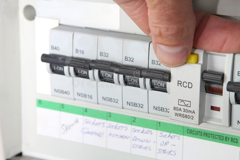 测试RCD残余的当前设备 库存照片