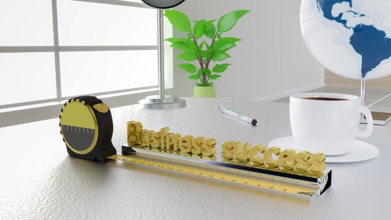 测量与磁带的企业成功概念在办公桌上 库存例证