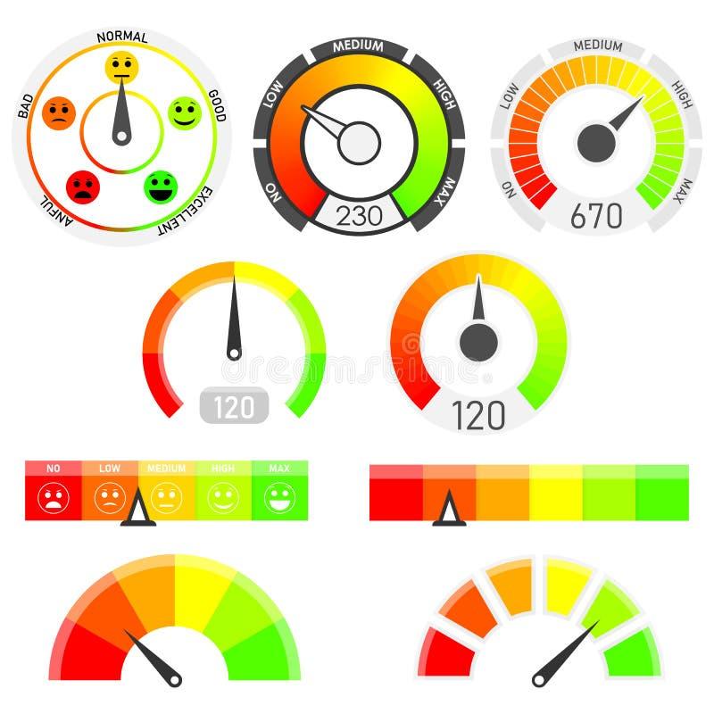 测量仪导航集合 信用评分显示 向量例证