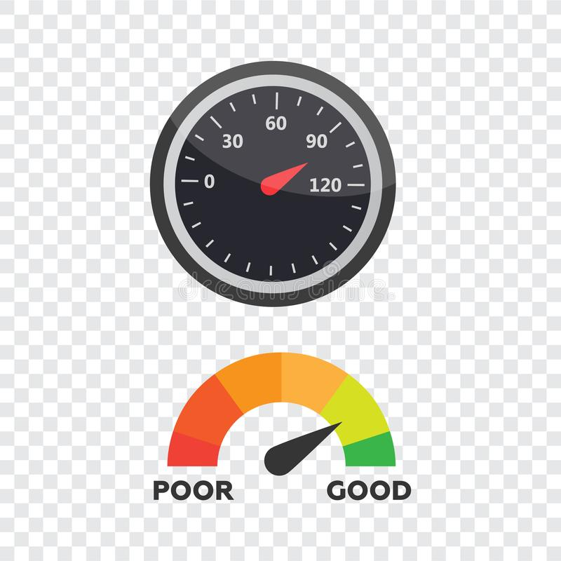 测量仪象 信用评分显示和测量仪传染媒介集合 评分 向量例证