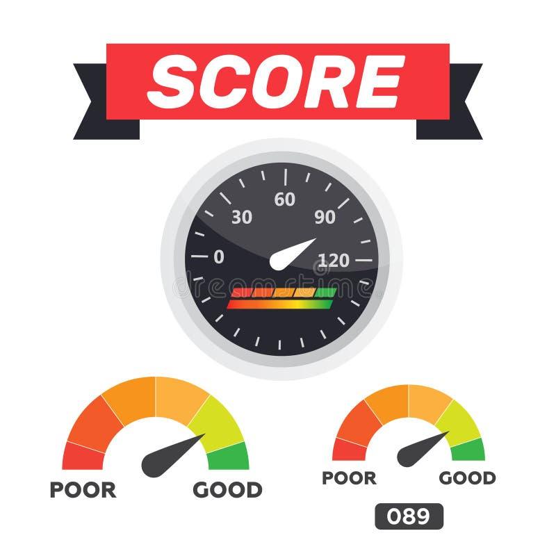 测量仪象 信用评分显示和测量仪传染媒介集合 评分 库存例证