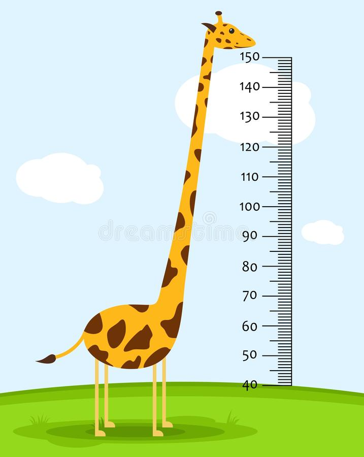 测量墙壁或成长婴儿磅秤与长颈鹿的在草 哄骗高度图 从40的标度到150厘米 向量例证