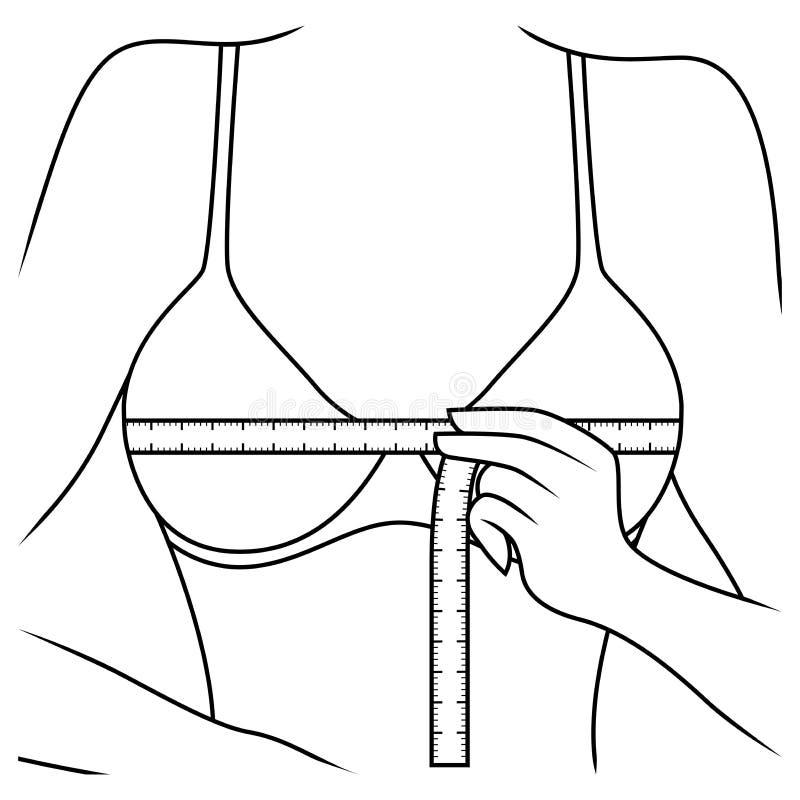 测量她的胸口的大小妇女 库存例证