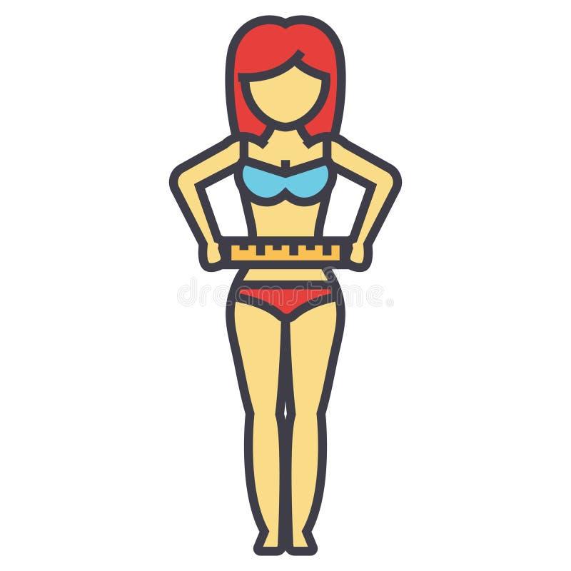 测量她的腰部的妇女,在饮食以后,健身,减重概念 皇族释放例证