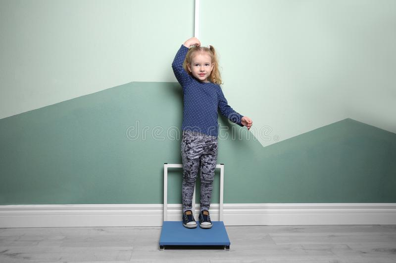 测量她的高度的小女孩 免版税库存照片