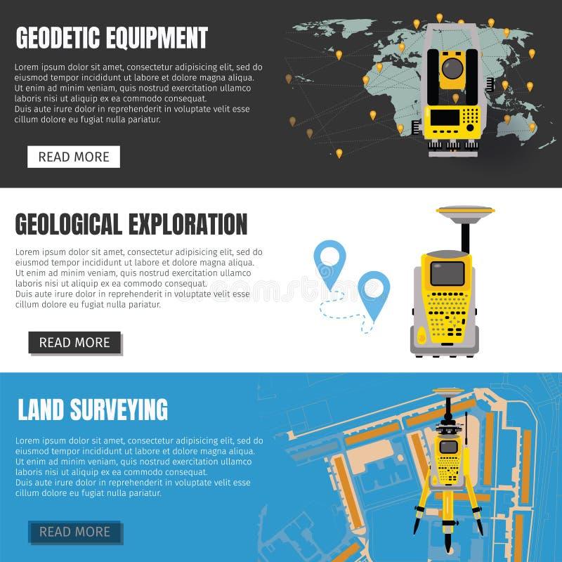 测量学测量器材横幅集合,设计土地调查的技术,测量学,工程学 库存例证
