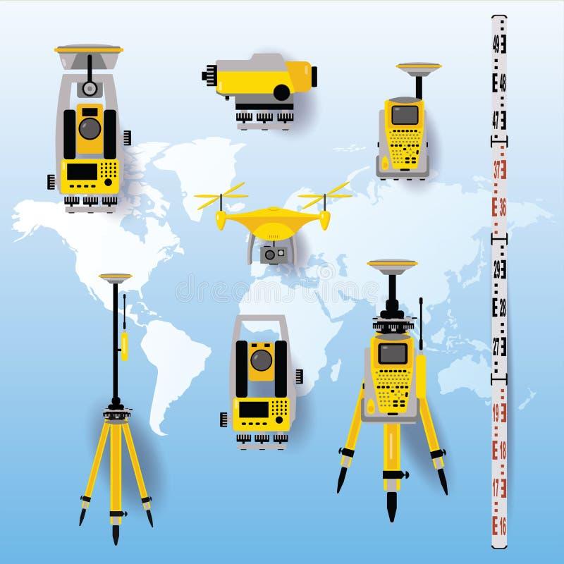 测量学设备传染媒介例证 在平的设计的测量仪器 经纬仪,tacheometer,总驻地,寄生虫,水平 向量例证