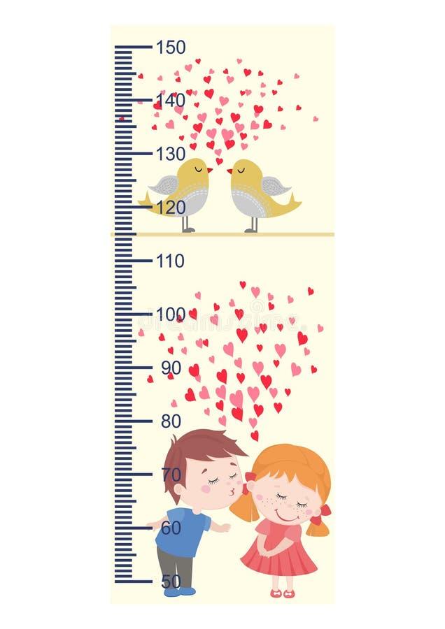 测量成长,逗人喜爱的孩子,儿童` s高度测量 皇族释放例证