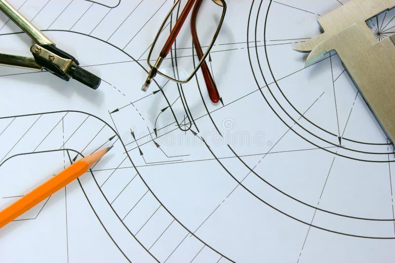 测量的工具在图画,工程建筑驱散了 免版税库存图片