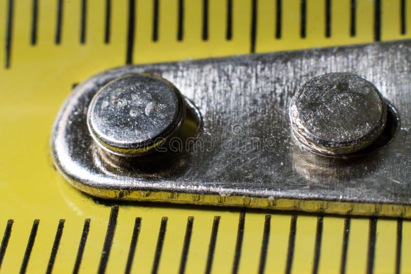 测量的磁带特写镜头,宏指令 免版税库存图片