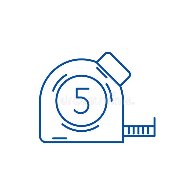 测量的磁带线象概念 测量的磁带平的传染媒介标志,标志,概述例证 向量例证
