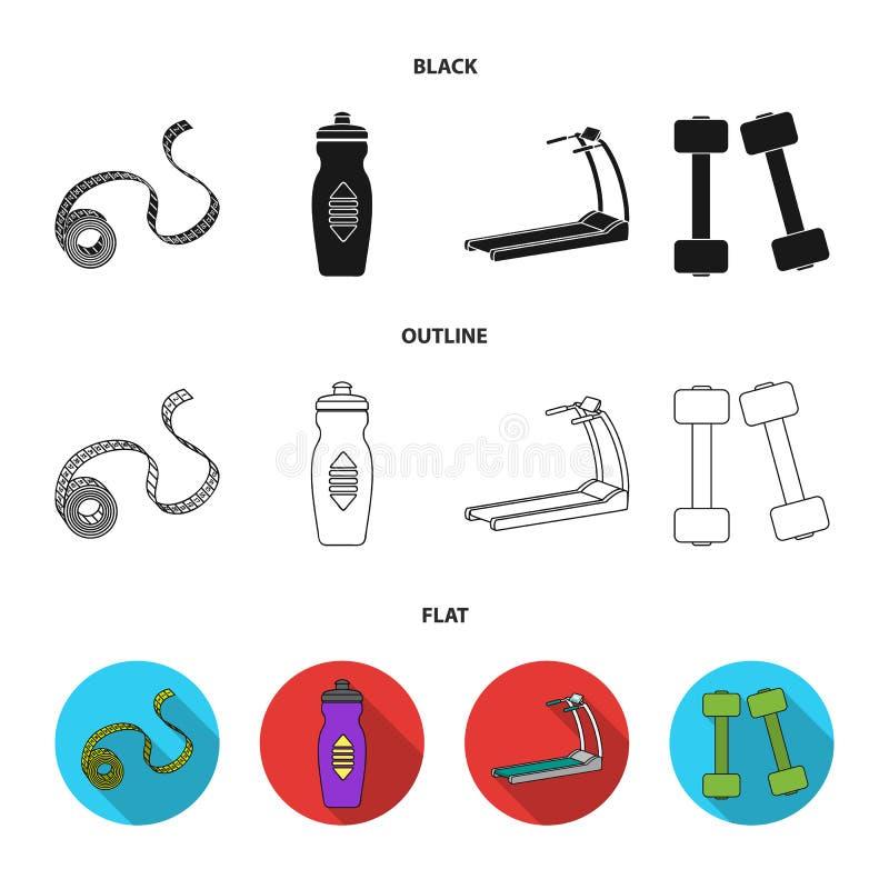 测量的磁带,水瓶,踏车,哑铃 在黑的Fitnes集合汇集象,平,概述样式传染媒介 皇族释放例证