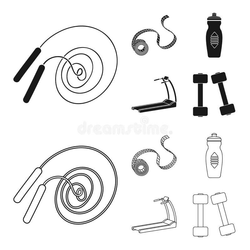 测量的磁带,水瓶,踏车,哑铃 在黑色,概述样式传染媒介标志的Fitnes集合汇集象 皇族释放例证