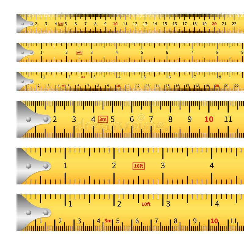 测量的磁带 措施英寸磁带测量统治者,厘米公尺精确度工具轮盘赌长度标号 库存例证