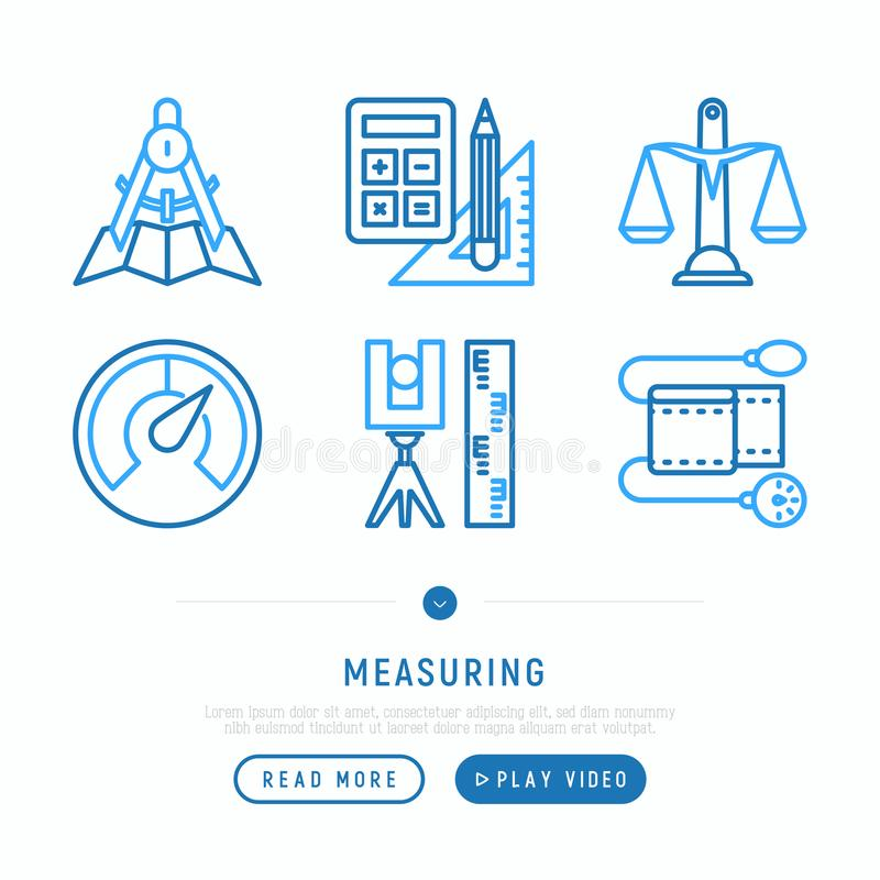 测量的稀薄的线被设置的象 向量例证