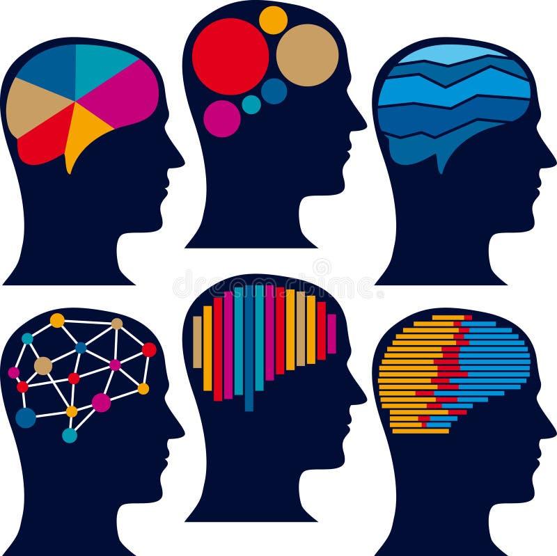测量的脑子图 向量例证