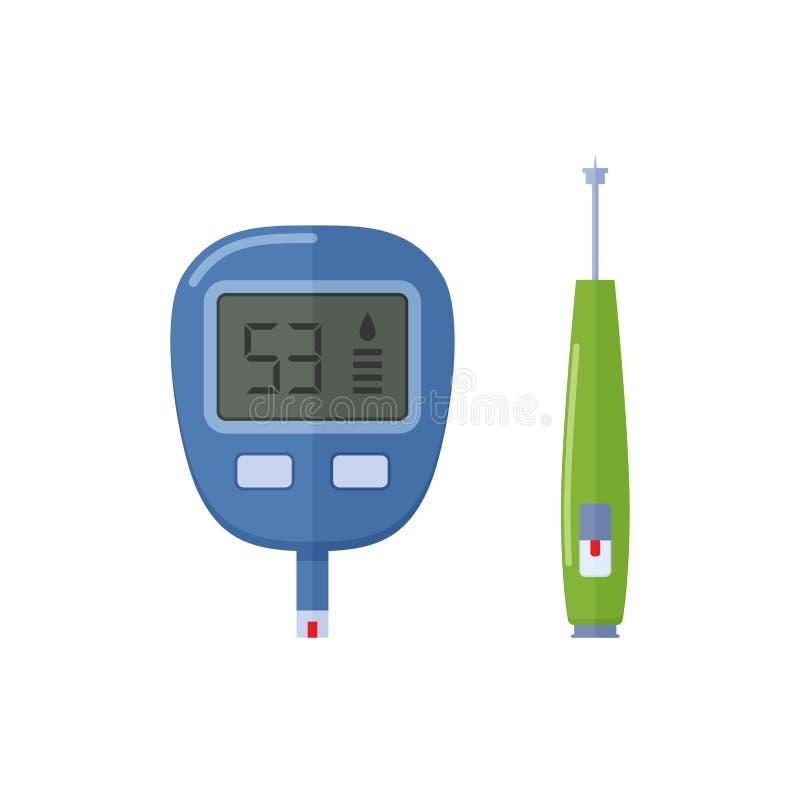 测量的血糖水平的电子glucometer 测试葡萄糖 库存例证
