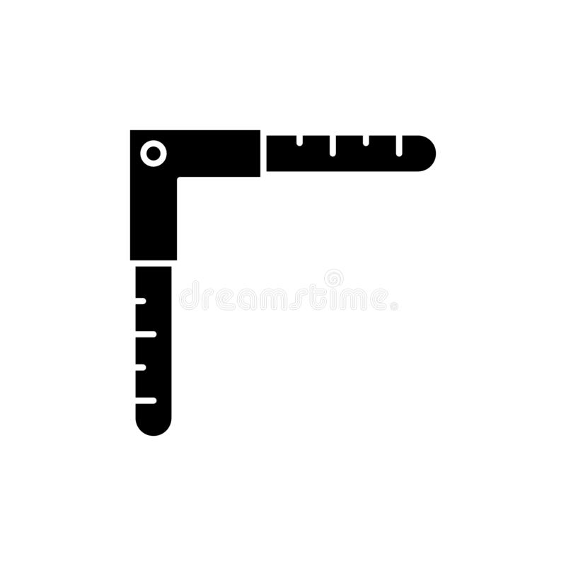 测量的角度黑色象,在被隔绝的背景的传染媒介标志 测量的角度概念标志,例证 库存例证
