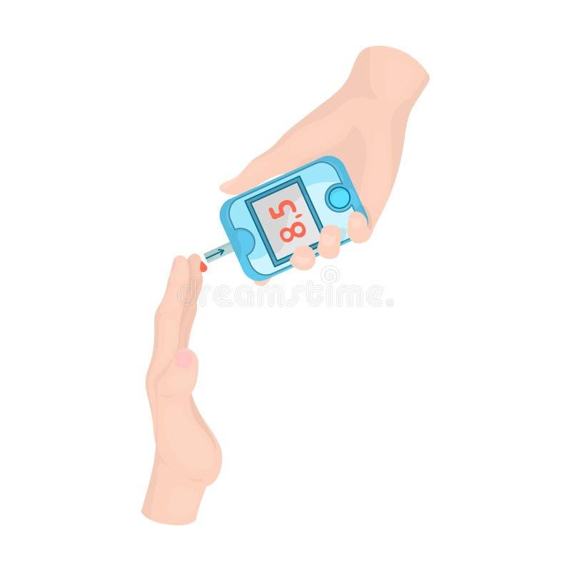 测量糖的水平在一个人的血液的有Glucometer的 在动画片样式传染媒介的医学唯一象 库存例证