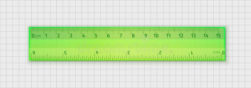 测量透明塑料统治者的学校15厘米和6英寸 向量例证