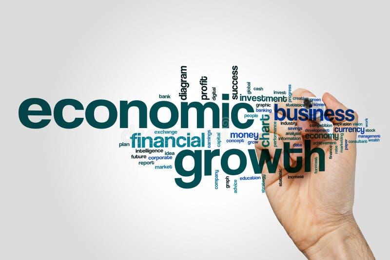 经济增长词在灰色背景的云彩概念 库存照片