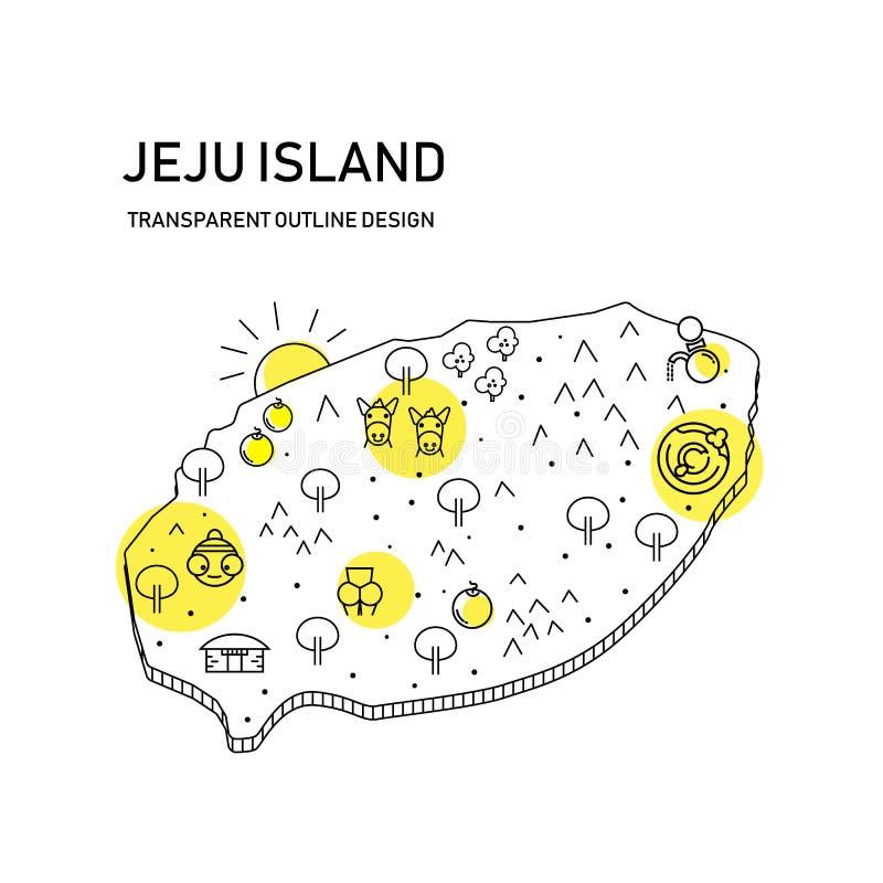 济州与透明概述设计的海岛地图,与cutie对象 图库摄影