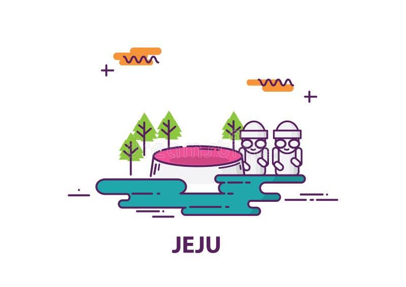 济州海岛在有的线艺术设计韩国 皇族释放例证