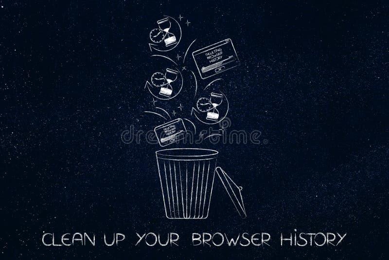 浏览器与滴漏象和突然出现的历史数据在容器 皇族释放例证