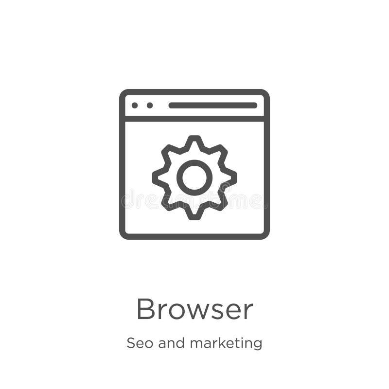浏览器从seo和营销汇集的象传染媒介 稀薄的线浏览器概述象传染媒介例证 r 向量例证