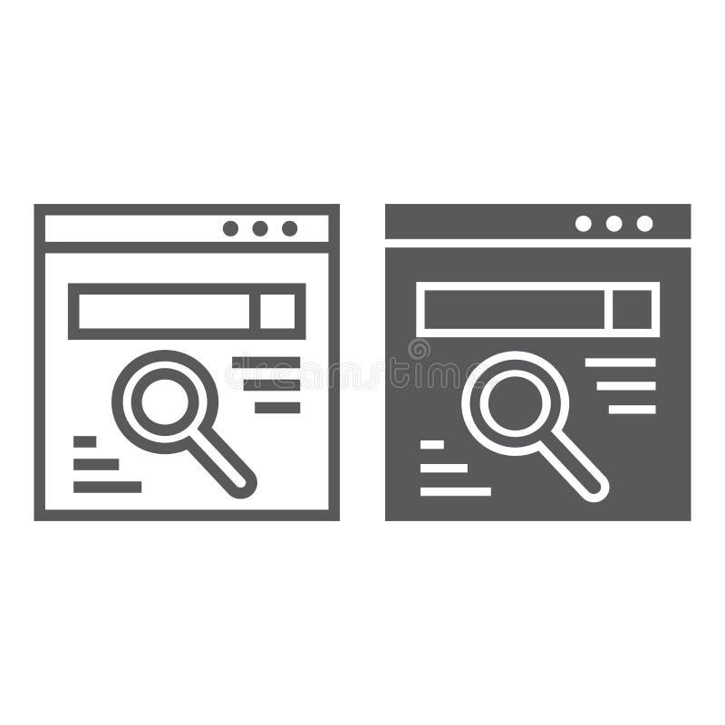 浏览器线和纵的沟纹象、网页和互联网,查寻标志,向量图形,在白色背景的一个线性样式 皇族释放例证