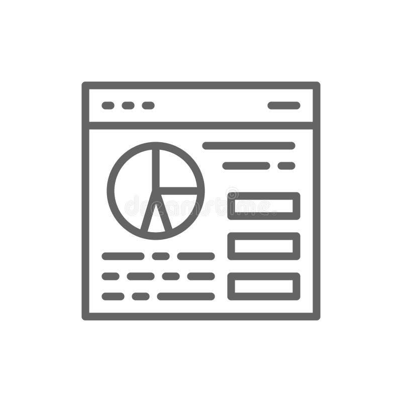 浏览器统计,网站交通,与图饼线象的网页 皇族释放例证