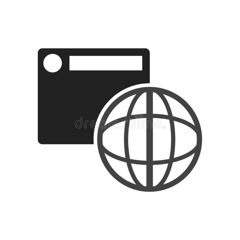 浏览器象在白色背景和标志隔绝的传染媒介标志,浏览器商标概念 皇族释放例证