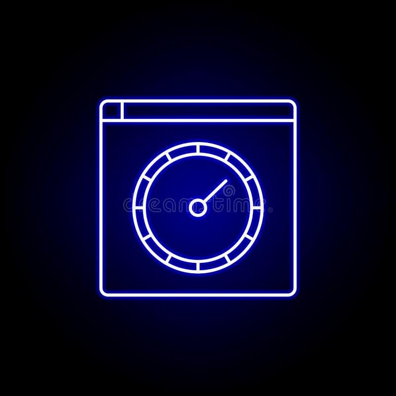 浏览器速度在蓝色霓虹样式的车速表象 时间例证象的元素 标志,标志可以为网使用, 向量例证