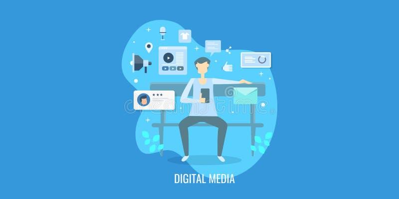 浏览数量,数字媒介订婚,录影促进概念的网民 平的设计传染媒介横幅 皇族释放例证