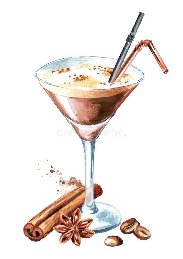 浓咖啡与coffe五谷和香料的马蒂尼鸡尾酒鸡尾酒 水彩手拉的例证,隔绝在白色背景 库存例证