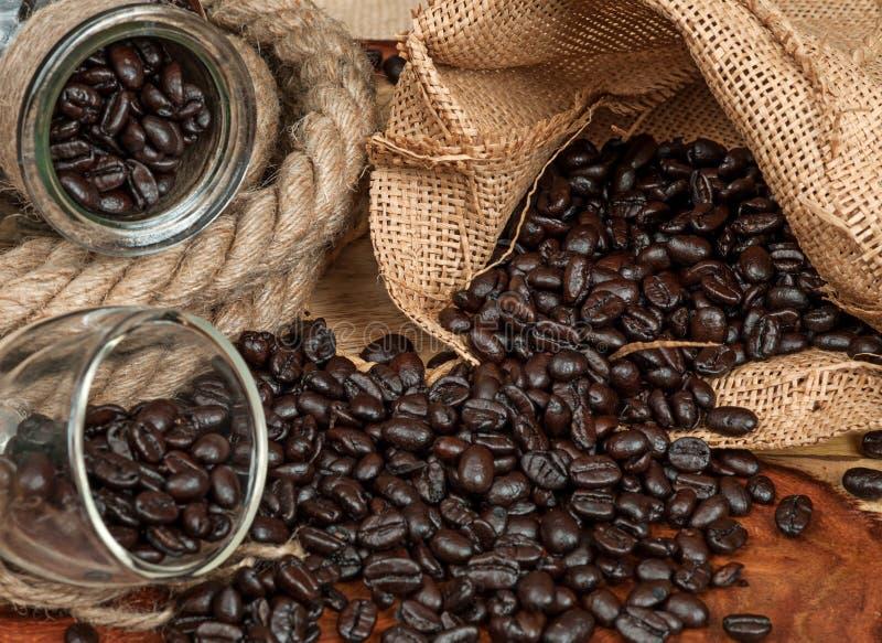 浓咖啡和咖啡豆 免版税库存照片